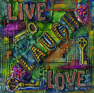 Mixed Media - The Keys Are Living Laughing Loving by Angela L Walker