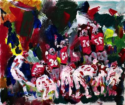 Ncaa Painting - The Kick by Larry Carter