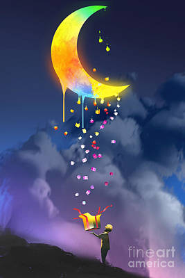 Sky Drawing - The Kid Opening A Fantasy Box And by Tithi Luadthong