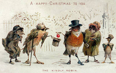 Christmas Greeting Painting - The Kindly Robin by Castell Brothers