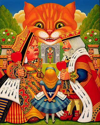 Cheshire Wall Art - Painting - The King And Queen Of Hearts, 2010 by Frances Broomfield
