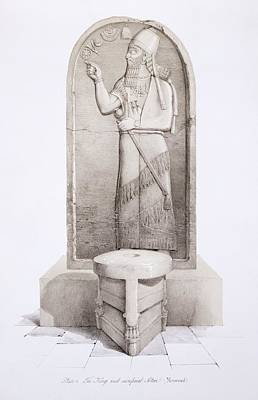 Iraq Drawing - The King And Sacrificial Altar, Nimrud by English School