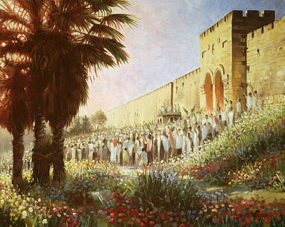 Old Wall Painting - The King Is Coming  Jerusalem by Graham Braddock