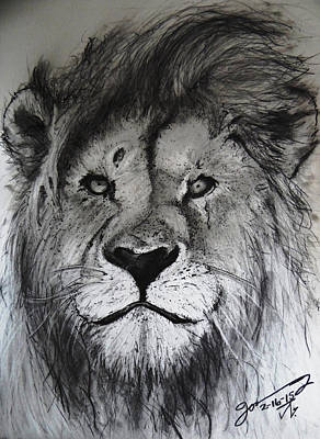 Amy Hamilton Animal Collage Rights Managed Images - The King Lion Royalty-Free Image by Jose A Gonzalez Jr
