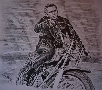 Steve Mcqueen Drawing - The King Of Cool Steve Mcqueen by Juan Mendez