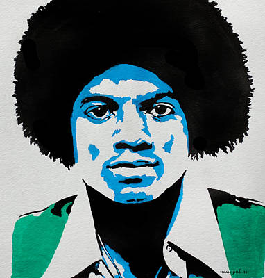 The King Of Pop. Art Print by Nancy Mergybrower
