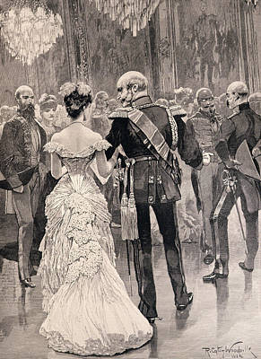 1797 Photograph - The King Of Prussia At A Court Ball In 1862, Pointing Out Bismarck, His New Minister Of State by Richard Caton II Woodville