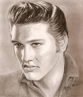 Drawing - The King Of Rock N Roll by Michael Mestas