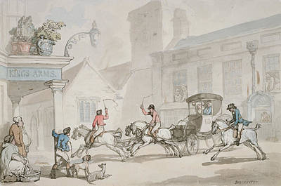 Pub Drawing - The Kings Arms, Dorchester by Thomas Rowlandson