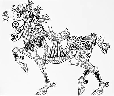 Drawing - The King's Horse - Zentangle by Jani Freimann