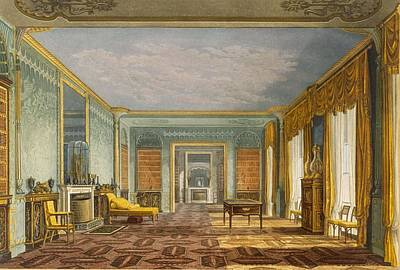 Chaise Longue Painting - The Kings Library From Views Of The by John Nash