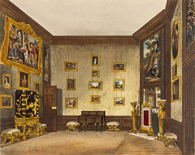 Lacquer Drawing - The Kings Writing Closet, Hampton by Richard Cattermole