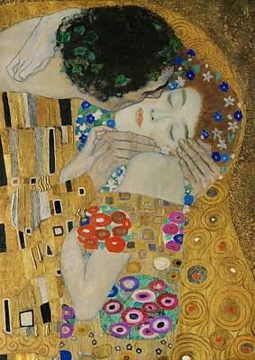 The Kiss Painting - The Kiss Detail by Gustav Klimt