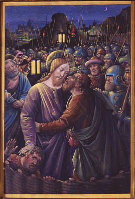 The Kiss Of Judas, End Of 15th Century Vellum Art Print by Jean Bourdichon