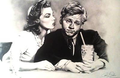 Drawing - The Kiss Of Judy Garland by Carl Baker