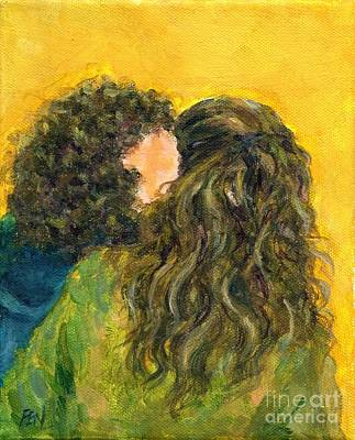 The Kiss Painting - The Kiss Of Two Curly Haired Lovers by Jingfen Hwu