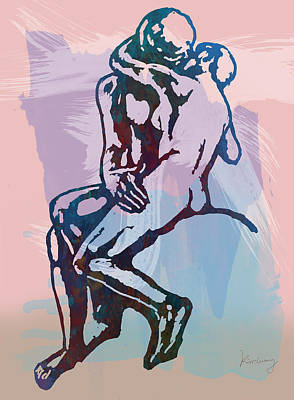 The Kissing - Rodin Stylized Pop Art Poster Print by Kim Wang