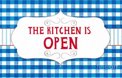 Gingham Painting - The Kitchen Is Open by Linda Woods
