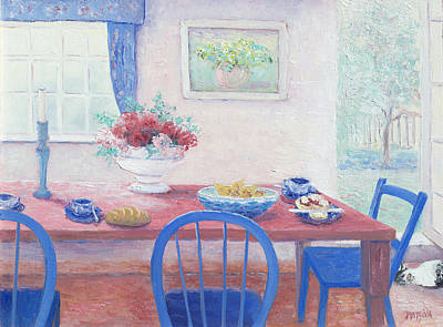 The Kitchen Table Laid For Lunch Art Print by Jan Matson