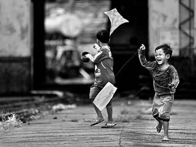 Kites Photograph - The Kite Runner by Sebastian Kisworo