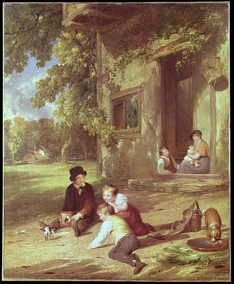 Children Playing Photograph - The Kitten Deceived, 1816 Oil On Canvas by William Collins