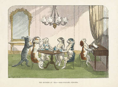 Piano Photograph - The Kittens At Tea by British Library