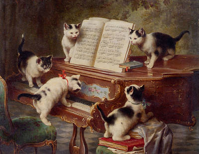 The Kittens Recital Art Print by Carl Reichert
