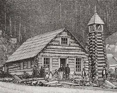 Alaska Drawing - The Klondike Presbyterian Church At Juneau, Alaska by American School