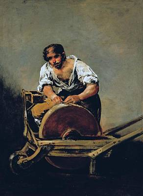 Old Grinders Painting - The Knife-grinder by Francisco Goya