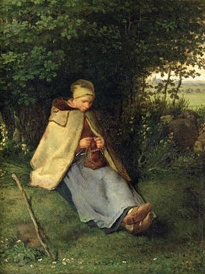Knitting Photograph - The Knitter Or, The Seated Shepherdess, 1858-60 Oil On Canvas by Jean-Francois Millet
