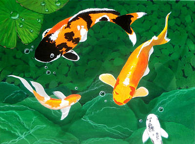 Fish Underwater Painting - The Koi Pond by Karyn Robinson
