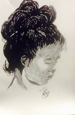 Indian Ink Mixed Media - The Korean Girl by Franky A HICKS