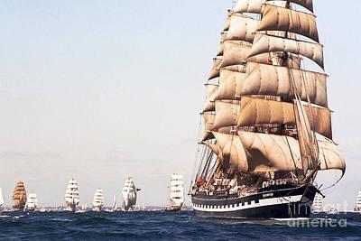 Photograph - The Kruzenshtern Departing The Port Of Cadiz 1992 by Pablo Avanzini