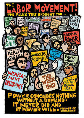 Struggling Mixed Media - The Labor Movement by Ricardo Levins Morales
