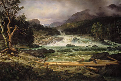 Landscape. Mountain Trees Water Bush Painting - The Labro Falls At Kongsberg by Thomas Fearnley