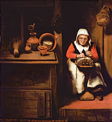 Mundane Photograph - The Lacemaker Oil On Canvas by Nicolaes Maes