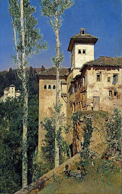 Granada Painting - The Ladies Tower At The Alhambra. Granada by Martin Rico