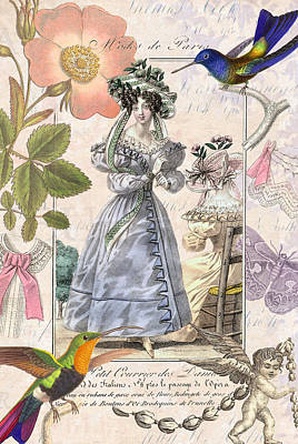 The Lady And The Hummingbird Art Print