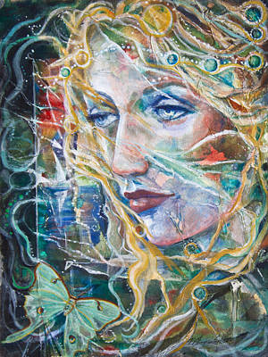 The Lady And The Luna Moth Original by Patricia Allingham Carlson