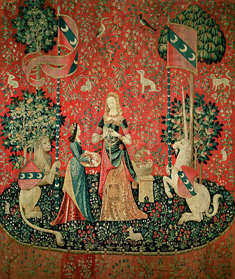 The Lady And The Unicorn Smell Tapestry Art Print by French School