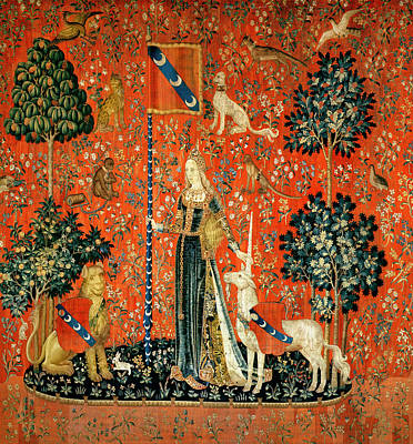 The Lady And The Unicorn Touch Tapestry Art Print by French School