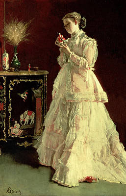 The Lady In Pink, 1867 Oil On Panel Art Print by Alfred Emile Stevens
