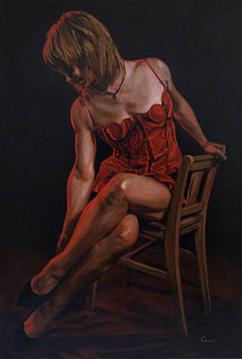 Alluring Painting - The Lady In Red by Mountain Dreams