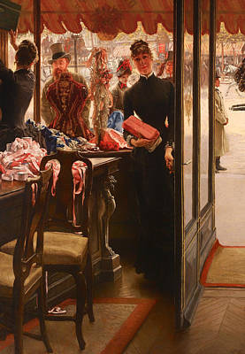 Historical Clothing Painting - The Lady In The Clothing Shop by Mountain Dreams