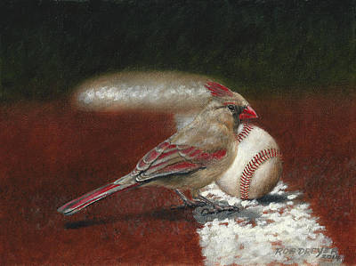 Baseball Painting - The Lady Loves Her Baseball by Rob Dreyer