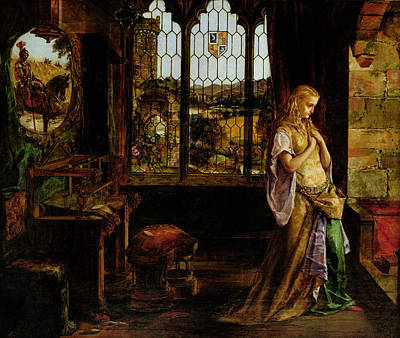 Mirror Painting - The Lady Of Shalott, 1858 by William Maw Egley