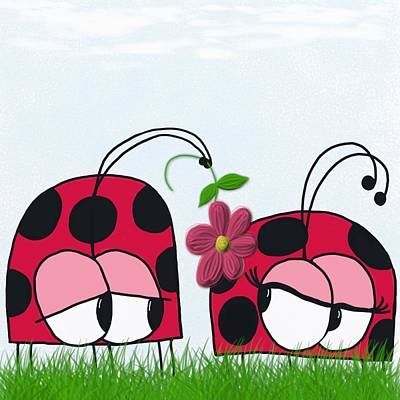 Digital Art - The Ladybug Wooing His New Love by Michelle Brenmark