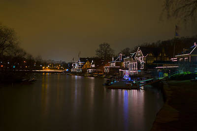 The Lagoon At Boathouse Row At Night Art Print by Bill Cannon