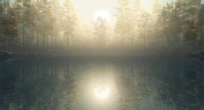 The Lake Awakes Original by John Robichaud