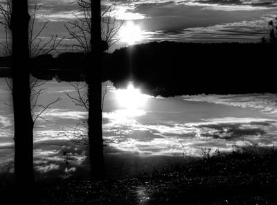 The Lake - Black And White Art Print